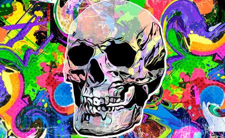 abstract colored artistic skull, graphic design concept, bright colorful art Фото со стока
