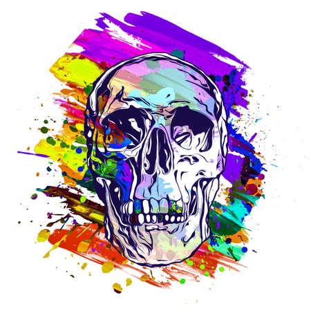 Human skull illustration, graphic design concept
