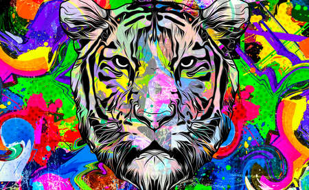 colorful abstract tiger with colored splashes background