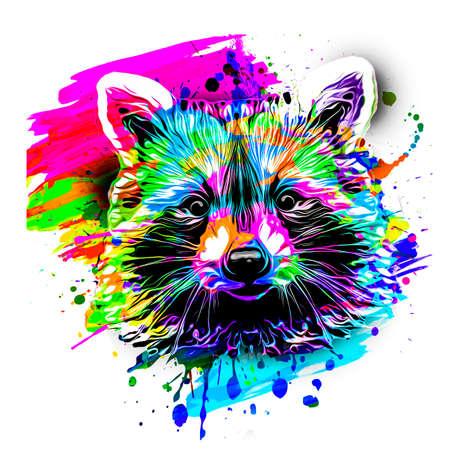 Raccoon on white background art Фото со стока