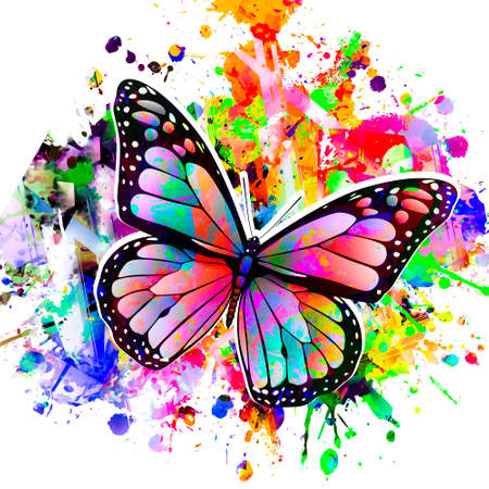colorful butterflies on a black background