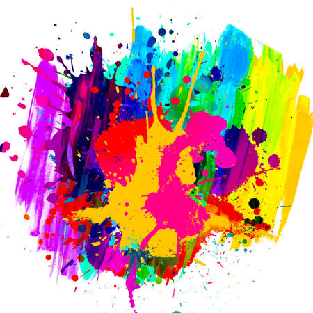 abstract colorful background with splashes isolated on white