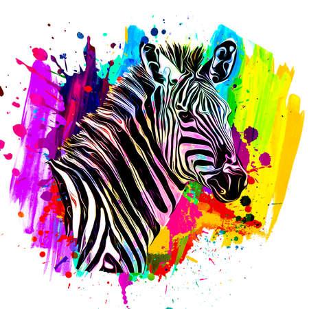 zebra with colorful stripes art Фото со стока