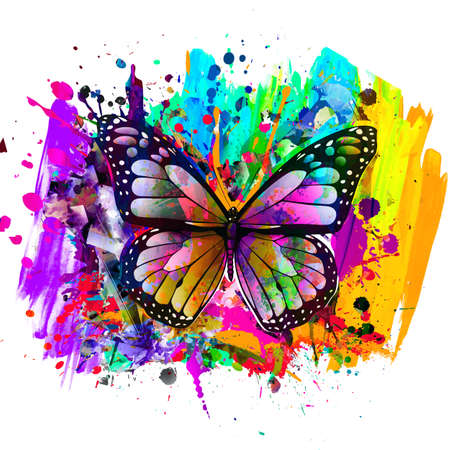 abstract art background with butterfly