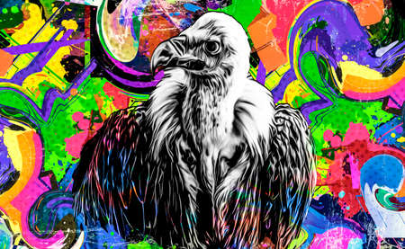 colorful artistic eagle isolated on white background Фото со стока