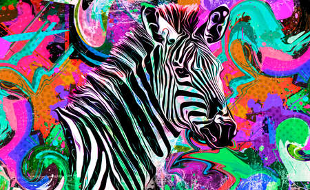 abstract colorful background with zebra