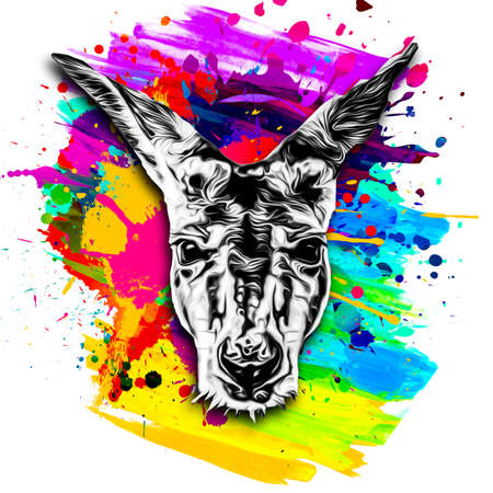 kangaroo head with creative abstract element on white background