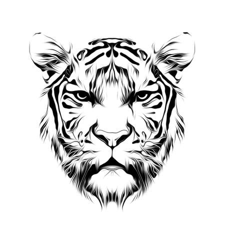 Art of tiger head in black and white Фото со стока