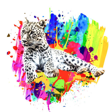 abstract background with colorful leopard Фото со стока
