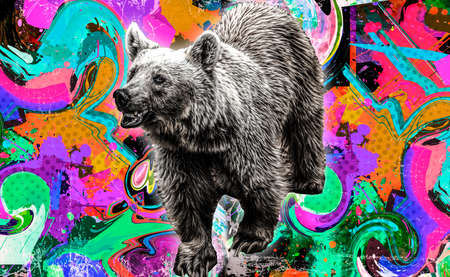 evil bear on a bright background