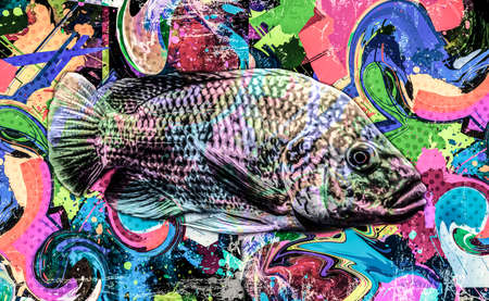 abstract colorful background with splashes fish