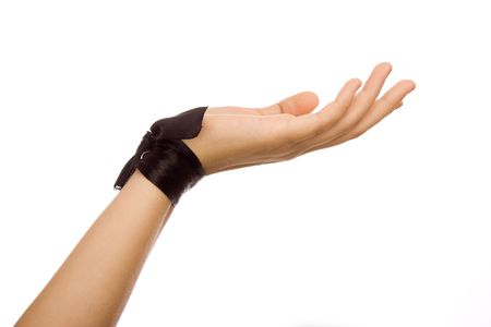 Hand with a black silk tape Stock Photo - 5550788