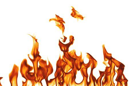 chemin�e gaz: Feu isol� sur blanc Banque d'images