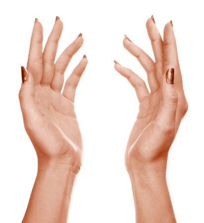 palmistry: Hands isolated on a white background.