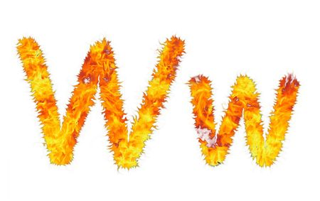 The fiery letter on white background. W. Stock Photo - 5649393
