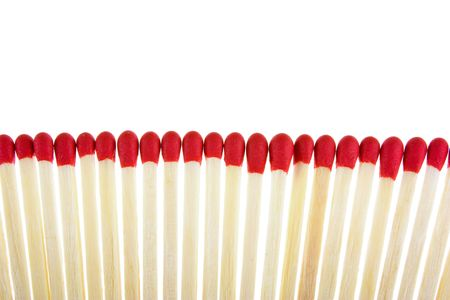 Set of red matches close up on white background Stock Photo - 5766688