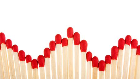 Set of red matches close up on white background Stock Photo - 5766684