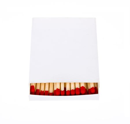 red matches in a white box isolated on a white background. photo