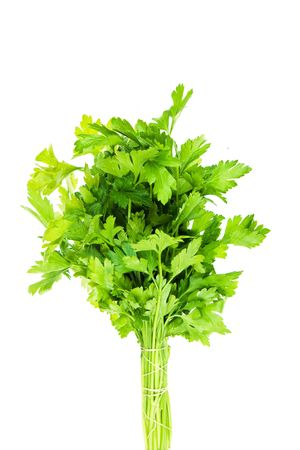 Bouquet of parsley isolated on white background.