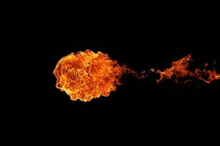 Fireball isolated on black background photo