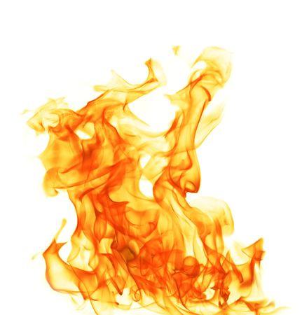 chemin�e gaz: Feu flamme isol�e sur un arri�re-plan blanc Banque d'images