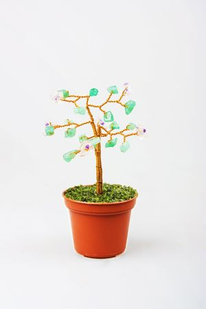 Tree made from metal and stone