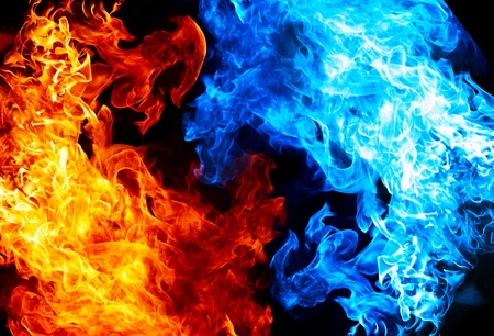 ice cold: Red and blue fire on balck background