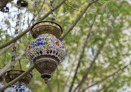 Lamp in oriental style with a mosaic design.