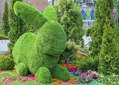 Easter bunny made from green grass using topiary technique. Stock Photo