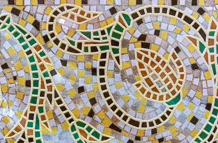 Ceramic tile mosaic with floral ornament. Background and texture of ceramic tiles mosaic. Reklamní fotografie