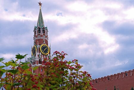 Moscow. Russia. Kremlin. Spasskaya Tower. Hours on Red Square.