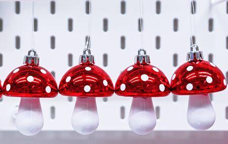 Christmas toys in the form mushrooms of amanitas. Zdjęcie Seryjne