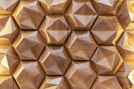 Wooden wall panel with 3D effect. Volumetric wooden texture.