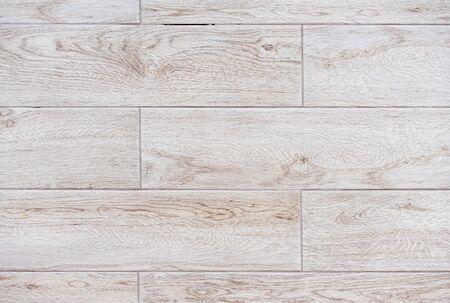 Beige porcelain tiles with imitation of wooden boards.