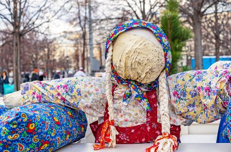 Faceless straw scarecrow of Maslenitsa. Slavic pagan symbol associated with the end of winter.
