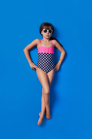 child bikini summer top top view. Stock Photo