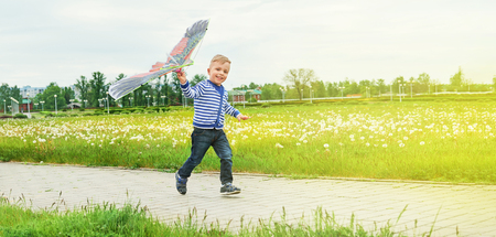 Little boy running across park with toy kite flying. Caucasian child playing on spring day. Lifestyle kid actively recreation .Copy space for text,blank background. Summer,outdoors, green grass.