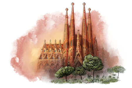 Cathedral at Barcelona, Spain. landmark and tourism symbol. digital church sketch isolated on white background