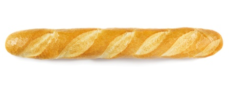 crust crusty: French baguette isolated on white Stock Photo