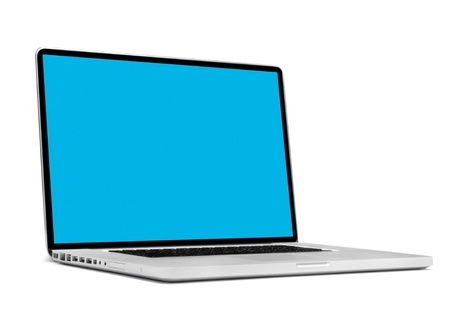 Laptop isolated on white photo