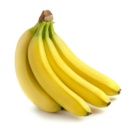 Bunch of bananas isolated on white Фото со стока