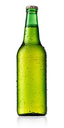 single beer bottle: Bottle of beer isolated on white