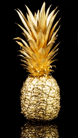 Gold pineapple on black background 스톡 콘텐츠
