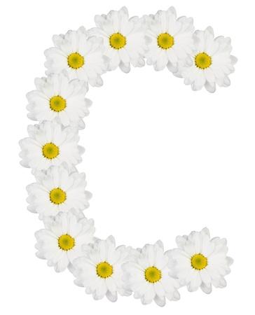 흰색 꽃에서 만든 편지 C