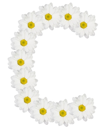 Letter C made from white flowers