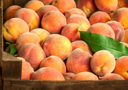 Peaches with green leaves in box photo