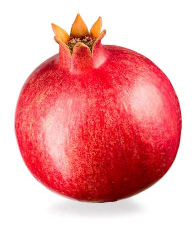 Ripe whole pomegranate isolated on white