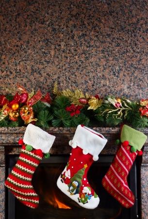 white stockings: Christmas stocking on fireplace background