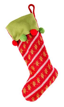 크리스마스 스타킹 흰색 배경에 고립