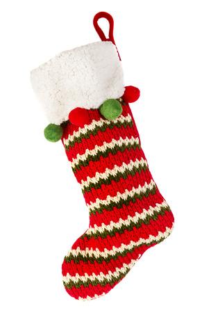 흰 배경에 고립 된 크리스마스 스타킹 스톡 콘텐츠